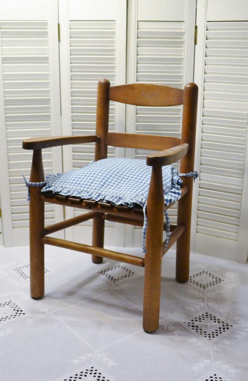 Vintage Childs Wood Slat Arm Chair Rustic Kids Furniture image 0