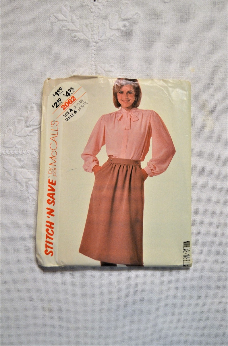 McCalls 2062 Sewing Pattern Misses Blouse Skirt Size 8 10 12 image 0