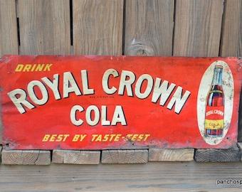 Vintage RC Cola Metal Sign Embossed Original Royal Crown Cola Advertising 1930s Wall Decor Red White Photo Prop Display Panchosporch