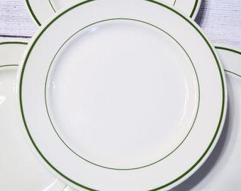 Vintage Buffalo China Dinner Plate Set of 4 Niagara Green Band 1950s Restaurant Ware American Made Dinnerware PanchosPorch