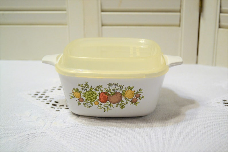 Vintage Corning Ware Spice of Life Casserole with Plastic Lid image 0