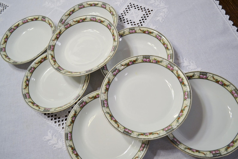Vintage Victoria China Coupe Soup Bowl Set of 4 Floral Pattern Czechoslovakia Replacement Victorian Style Wedding Panchosporch