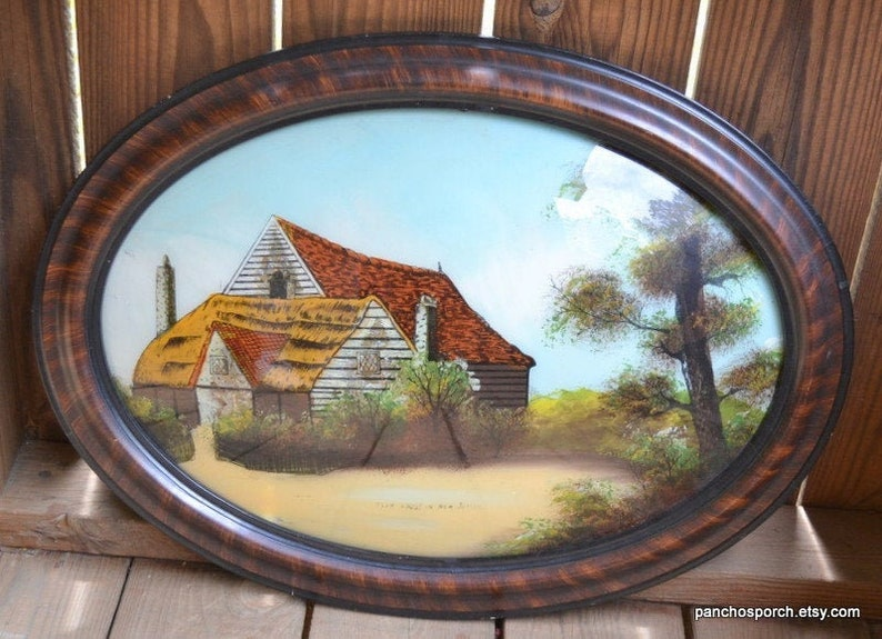 Vintage Reverse Painting on Glass Oval Wooden Frame Convex image 0