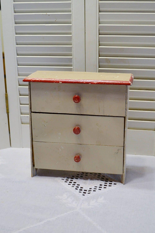 Vintage Wooden Dresser Doll Clothes Storage White Red ...