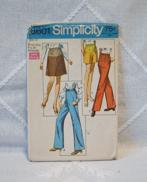 1e4b4f955c398 Vintage Simplicity 8601 Sewing Pattern Misses Maternity Pants | Etsy