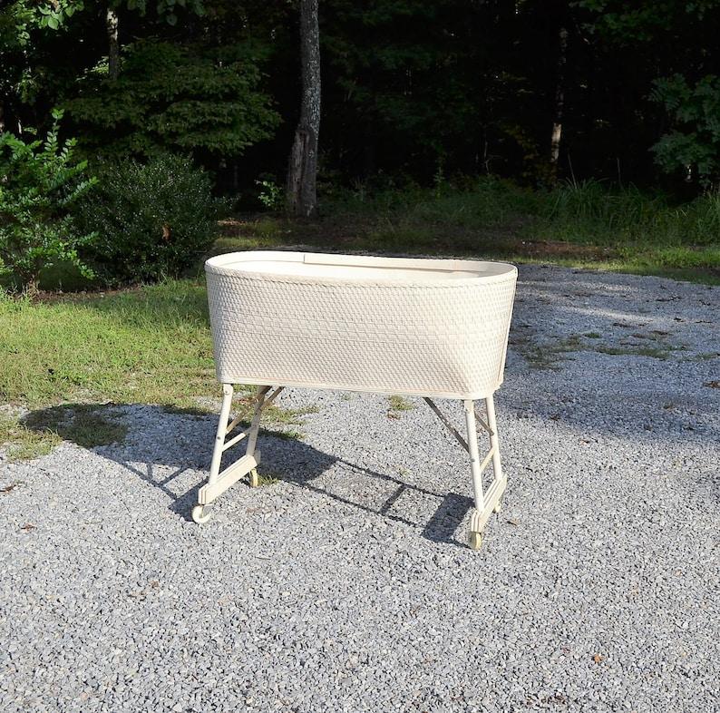 Vintage Baby Bassinet White Basket Weave on Wheels Folding image 0