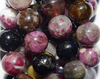 "Genuine Tourmaline Round beads 8.7 mm - Full Strand 16"", 47 beads, A Quality"