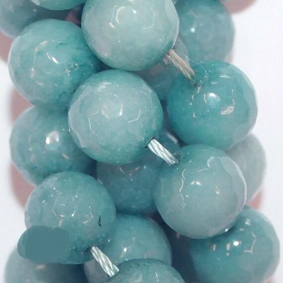 Semi Precious Gemstone Beads Full Strand Wholesale Round 12 mm Colored Quartz beads Faceted Blue Lagoon Quartz