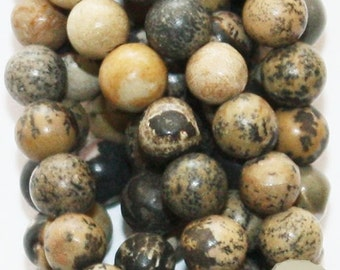 "Natural Scenery Jasper Beads - Round 6 mm Gemstone Beads - Full Strand 15 1/2"", 61 beads, A-Quality"
