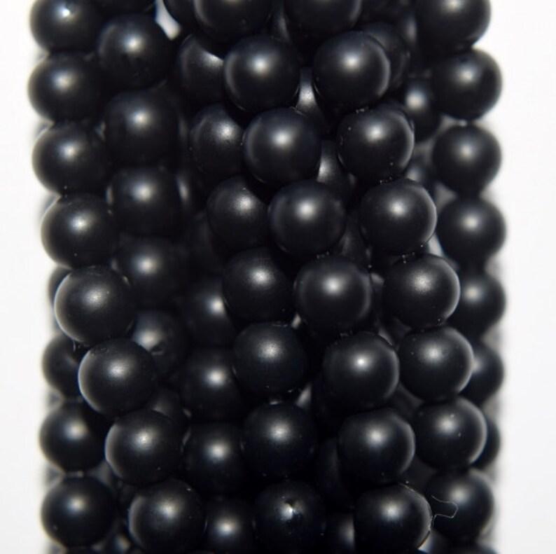 Genuine Matte Black Onyx Beads - Round 4 mm Gemstone Beads - Full Strand  16