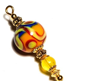 5 Gold Coral /& White Grey Hatpin Handmade Lampwork Glass Flower Bead With End Protector