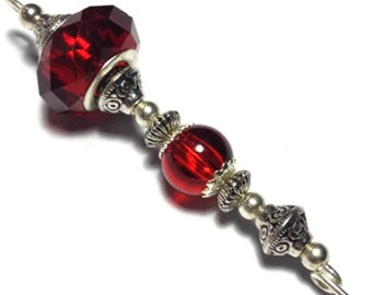 """5"""" Red Glass Bead Hat Pin Vintage Antique Tibetan Silver Style - With Pin Protector (HP3-6)"""