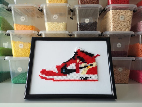 Sneaker Art Jordan One Off White Chicago Pixel Art