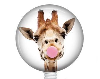 Giraffe Interchangeable badge reel Cartoon Giraffe badge reel Giraffe Badge Reel