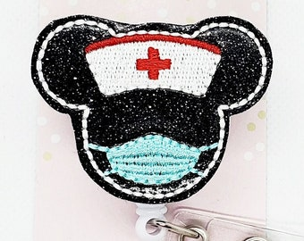 Mask Badge Reel- Virus- Cute Badge Reel- ID Badge Reel Nurse Gift Made to Order Teacher Gift Custom