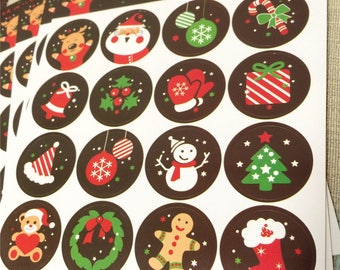 32 Round Christmas Stickers/Labels/Seals/ Gift Wrap/Stationary/Gift Tags/Envelope Seals/Santa-Snowman-Tree-Stocking