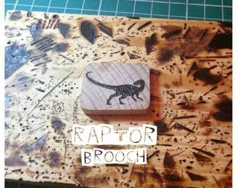 Velociraptor Brooch, Dinosaur Brooch, Wooden Brooch