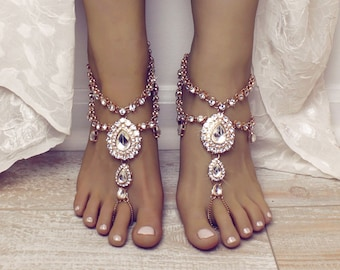 Aida Barefoot Sandals Foot Jewelry Gold Barefoot Sandals Wedding Jewelry Wedding Sandals Anklet Foot Thong Beach wedding Shoes Sandles Gold