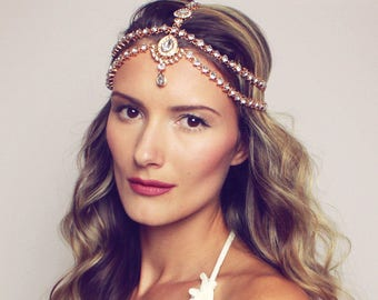 Dulce Head Chain Gold Head Jewelry Bridal Head Band Head Piece for Bride Hair Jewelry Gold Hair Chain Bridal Hair Band Boho Bride Hair Piece