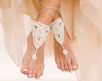 Pearla Wedding Sandals Barefoot Sandals Beach Wedding Shoes Crochet Sandals Lace Shoes Wedding Sandals White Anklet Foot Thong Foot Jewelry