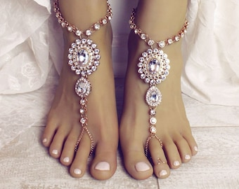 e6f91aa39b304b Zelda Barefoot Sandals Rhinestone Wedding Sandals Gold Anklet Foot Thong Foot  Jewelry for Bride Barefoot Sandles Kundan Anklet Slave Anklet