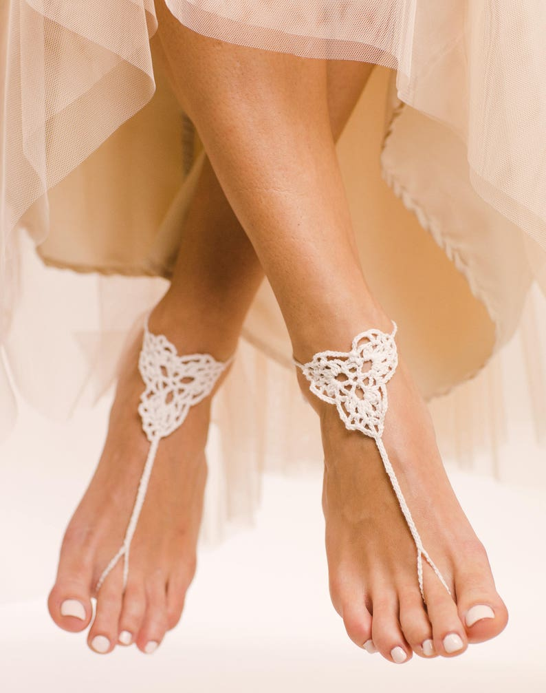792cb83d9b501b Dafne Barefoot Sandals Beach Wedding Shoes Crochet Sandals