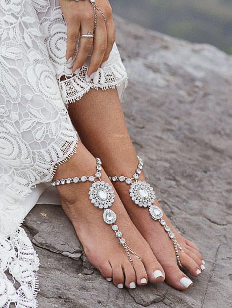 a614ce301 Zelda Silver Barefoot Sandals Rhinestone Shoes Beach Wedding