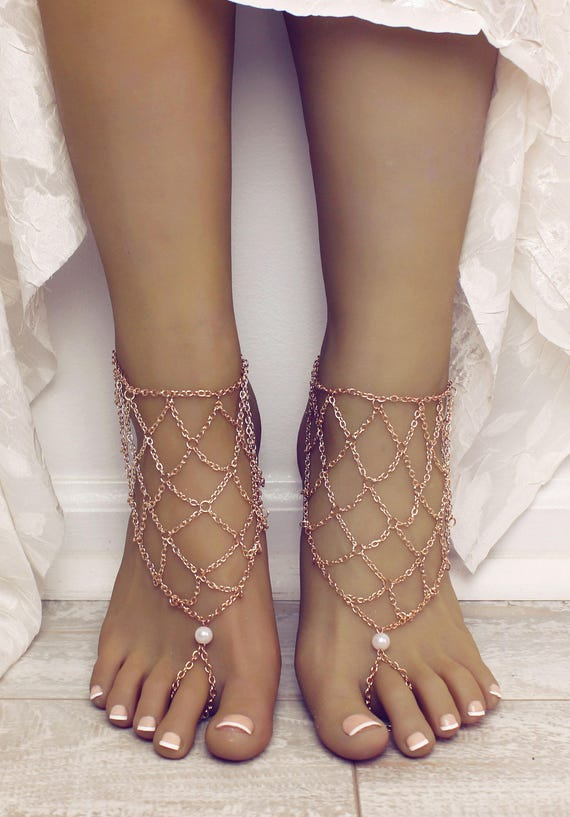 0abbbf3df2ffe6 Gold Chained Barefoot Sandals with Ivory Pearl Bohemian Foot