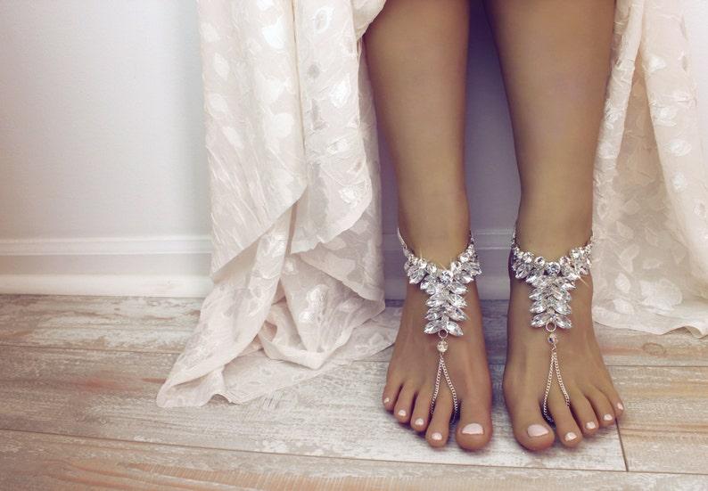 ddb994287ac Viviana wedding barefoot sandals Swarovski Sandals bridal