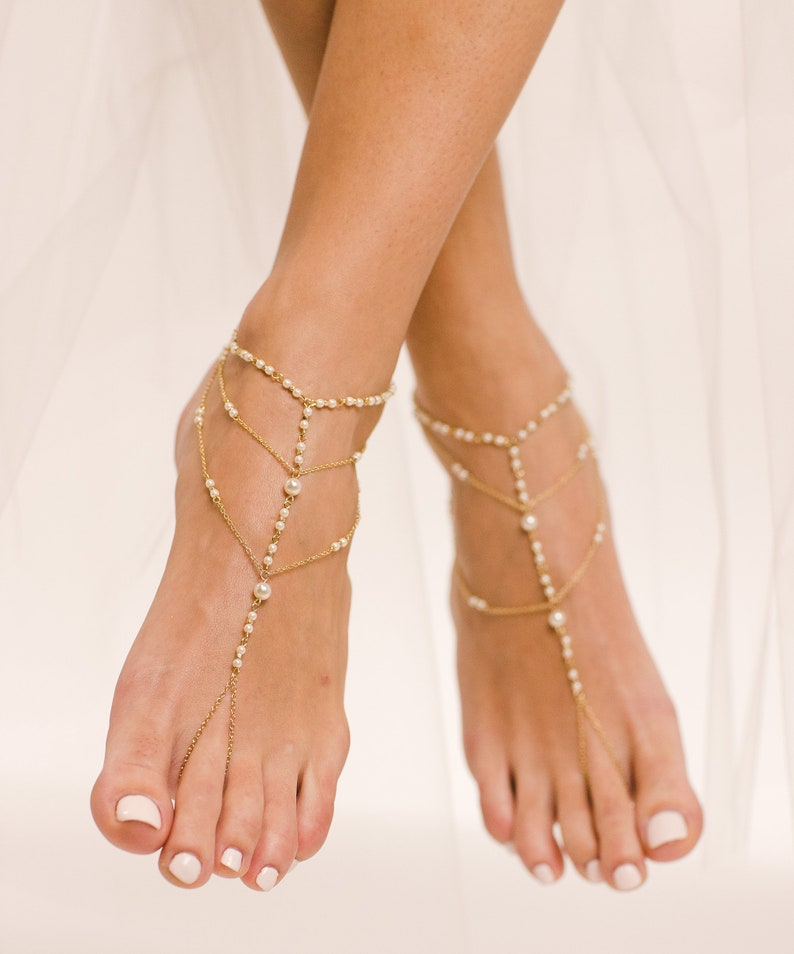 6ce65e8ac074c Malina Gold Barefoot Sandals Foot Jewelry Anklet for Beach