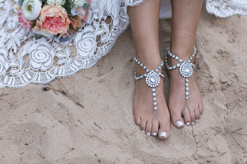 14be82a0cad2f0 Silver Barefoot Sandals Beach Wedding Anklet Foot Jewelry for