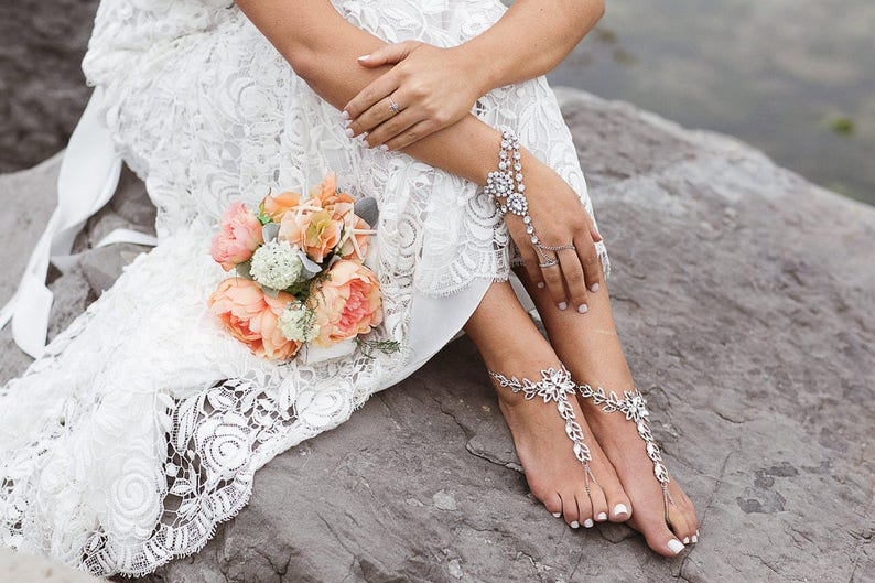c412b0ed0 Salma Barefoot Sandals Flower Foot Jewelry bridal sandals