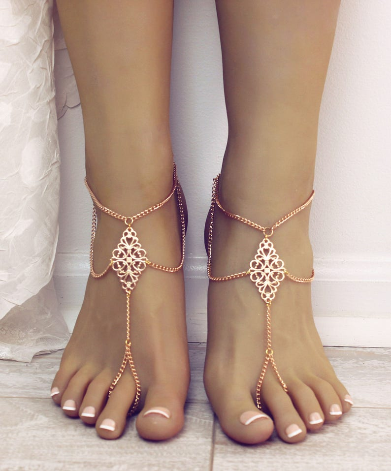 f12fb9a96bd4b1 Boho tribal barefoot sandals tribal anklet foot chain foot