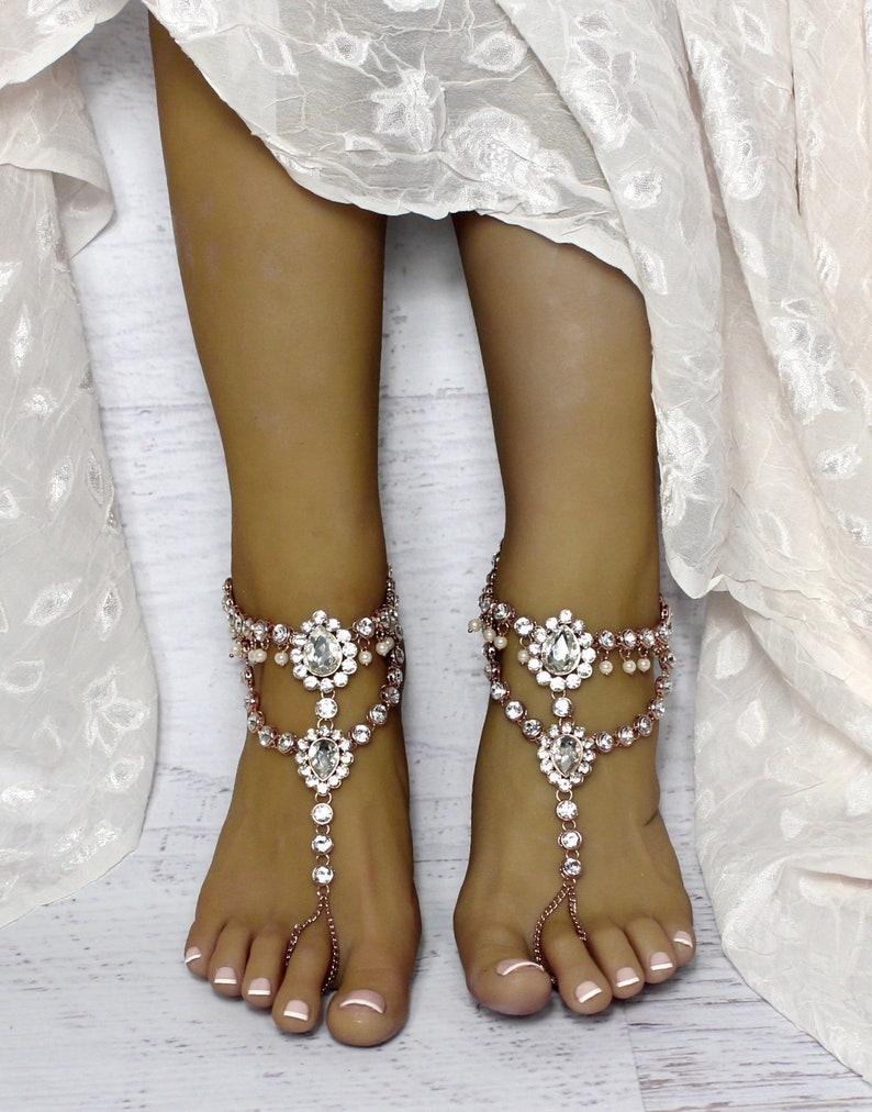 d16877fd84788 Gold Barefoot Sandals Beach Wedding Shoes Bridal Foot Jewelry Bohemian  Wedding Boho Wedding Shoes Beach Wedding sandals gold Anklet Marion