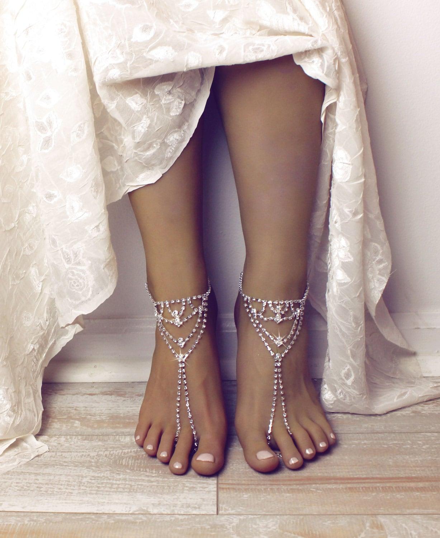 Zainab Barefoot Rhinestone Sandals Bridal Foot Jewelry Rhinestone Barefoot Anklet Beach Wedding Sandals Silver Ankle Bracelet Boho Sandals Bridal Shoes Silver 991066