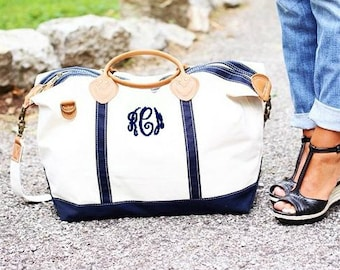 Monogrammed Weekender | Personalized Canvas and Leather Travel Duffle Bag | Great for Travel, Bridesmaids gifts, Graduation, Birthday