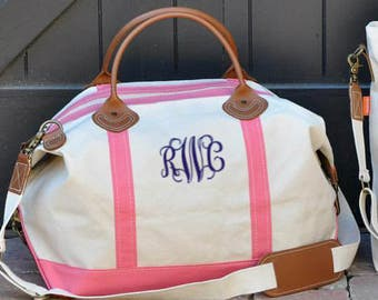 Monogrammed Weekender | Personalized Canvas and Leather Travel Duffle Tote | Great for Travel, Bridesmaids gifts, Graduation, College