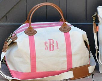 Monogrammed Weekender | Personalized Canvas and Leather Travel Duffle Tote | Great for Travel, Bridesmaids gifts, Wedding Gift, Graduation
