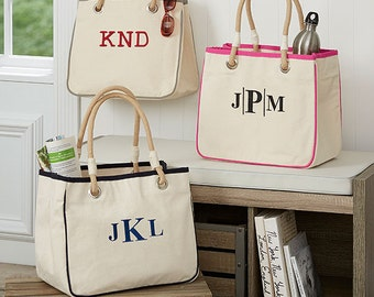 Monogrammed Tote Bag | Canvas Rope Tote Beach Bag | Great for Sororities, Bridesmaids, Graduation, Birthday Gifts, Teacher's Gifts