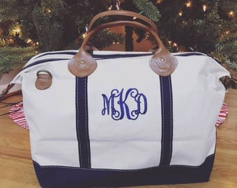 Monogrammed Canvas Weekender | Personalized Canvas and Leather Travel Duffle Tote | Great for Birthday's, Bridesmaids Gifts, Graduation