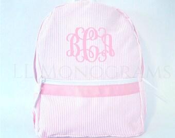 9a0b272327a0 Monogrammed Seersucker Backpack
