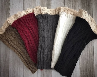 Monogrammed Boot Cuffs | Cable Knit Boot Toppers | Lace Top Boot Leg Warmers | On Sale!!!