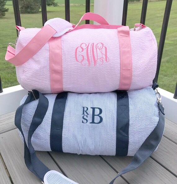 c605197b3c8 Monogrammed Duffle Bag Personalized Seersucker Kids Barrel   Etsy