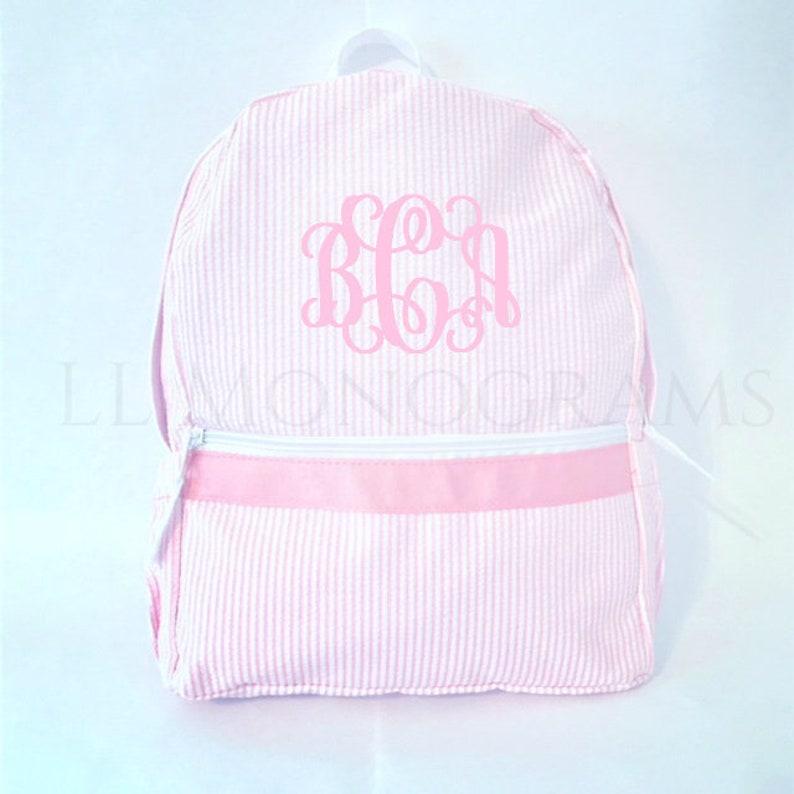 Monogrammed Seersucker Backpack  Personalized Toddler image 0