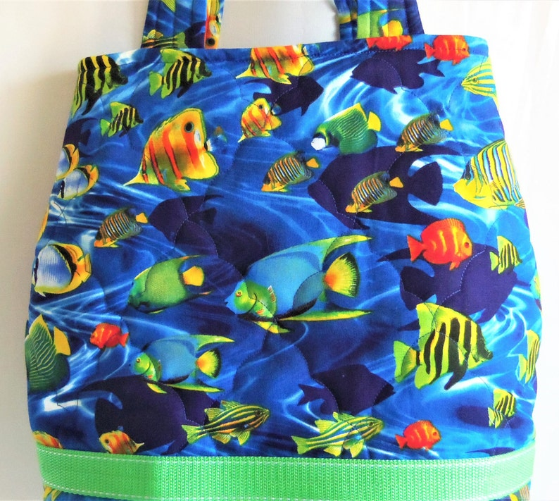Craft Tote Bag Sea Knitting Tote Quilted Carry All Sewnsewsister Barrel Tote Bag Diaper Bag Quilted Book Bag Fish Tote Bag