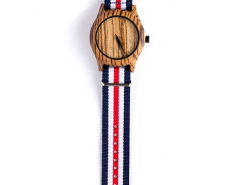 Watch / Zebrano Wood / Nautical / Wooden Watch / Eco Watch / watches / Wrist watches / Watches for men / Wood watch / Gift for men / Gifts