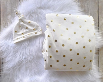 Gold Polka Dot/ Gold Swaddle/Gold Swaddle blanket/swaddle/hat/ Newborn swaddle/Baby swaddle blanket