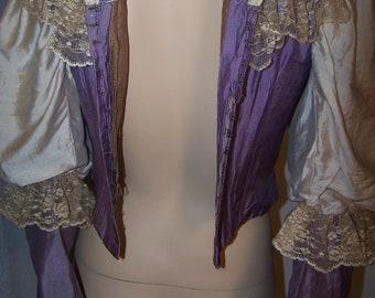 Vintage ANTIQUE VICTORIAN 1880s 2-Piece Raw Silk Lace BUSTLE Dress