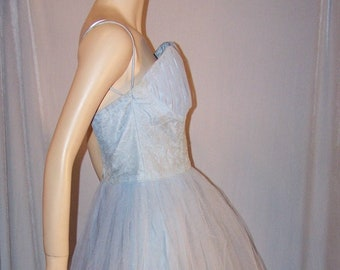 VINTAGE 1950s EMMA DOMB Light Blue Strapless Tulle Party Dress