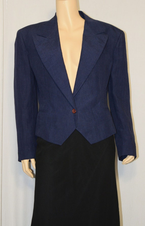 Vintage 1980s Blue Cropped Linen Jacket ~ OMO NORM